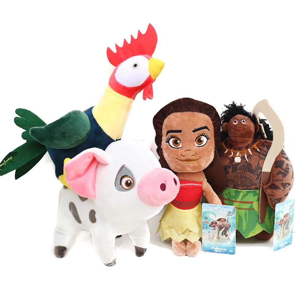Moana Cosplay Moana and Friend Chicken Heihei Pua Maui Staffed Plush Figure 20cm Toy 2016 Cartoon Movie Moana Cosplay Accessory