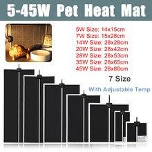 5-45 Вт Террариум рептилий тепловой коврик для альпинизма Pet нагревательные теплые подушечки настраиваемый регулятор температуры коврики рептилии поставки