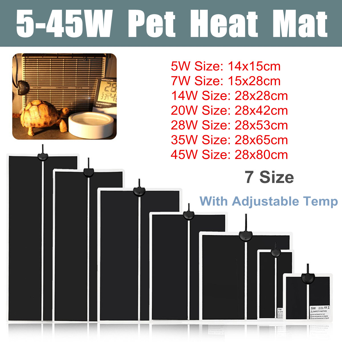 5-45 W terrario Reptiles calor Mat escalada para calefacción caliente almohadillas ajustable controlador de temperatura de los Reptiles suministros