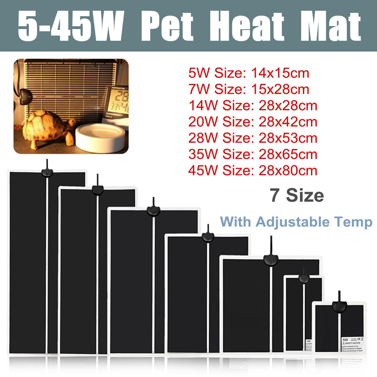 5-45W Terrarium Reptiles Heat Mat Climbing Pet Heating Warm Pads Adjustable Temperature Controller Mats Reptiles Supplies
