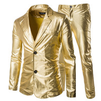 Fashion Men's Casual Boutique Slim Hot Stamping Suit 2 Pieces Set / Men's Slim Two button Gold Blazer Jacket Coat Trousers Pants