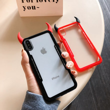Luxury cute 3D devil horn transparent soft phone case for iphone 6 S 5 7 8 plus X XR XS MAX cover for Samsung galaxy S8 S9 Note(China)