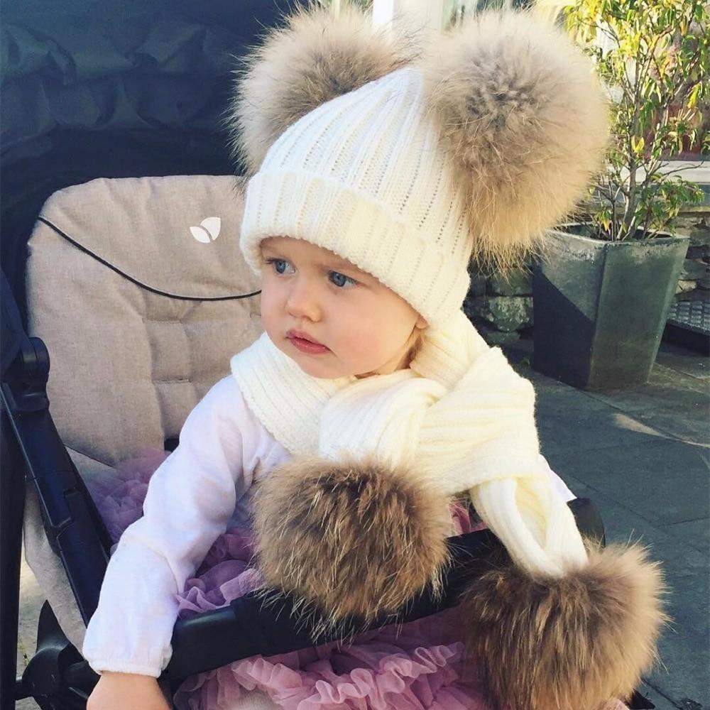 Children Kids Winter Hat Scarf Set For Boys Real Raccoon Fur Pom Pom Hat Scarf Set Baby Girls Warm Fleece Fur Ball Cap Scarf Set