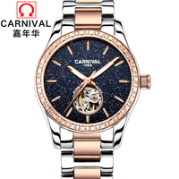 Luxury Carnival Brand Watch Women Star Series Skeleton Mechanical Diamond Stainless Steel Rose Gold Clock With Sapphire Glass