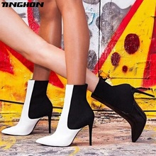 TINGHON Spring/Autumn Fashion Women Ankle Boots 12cm High Thin Heel Ladies Shoes Zipper Lace Up Design Female Women Boots top brand unique design black suede boots back front lace up fastening dress boots trendy ladies footwear thin high heel shoes