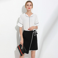 High Quality 2017 Runway Fashion Suit Set Womens 2 Piece White Shirt Tops + Simple Skirt Streetwear Casual Office Dress Set