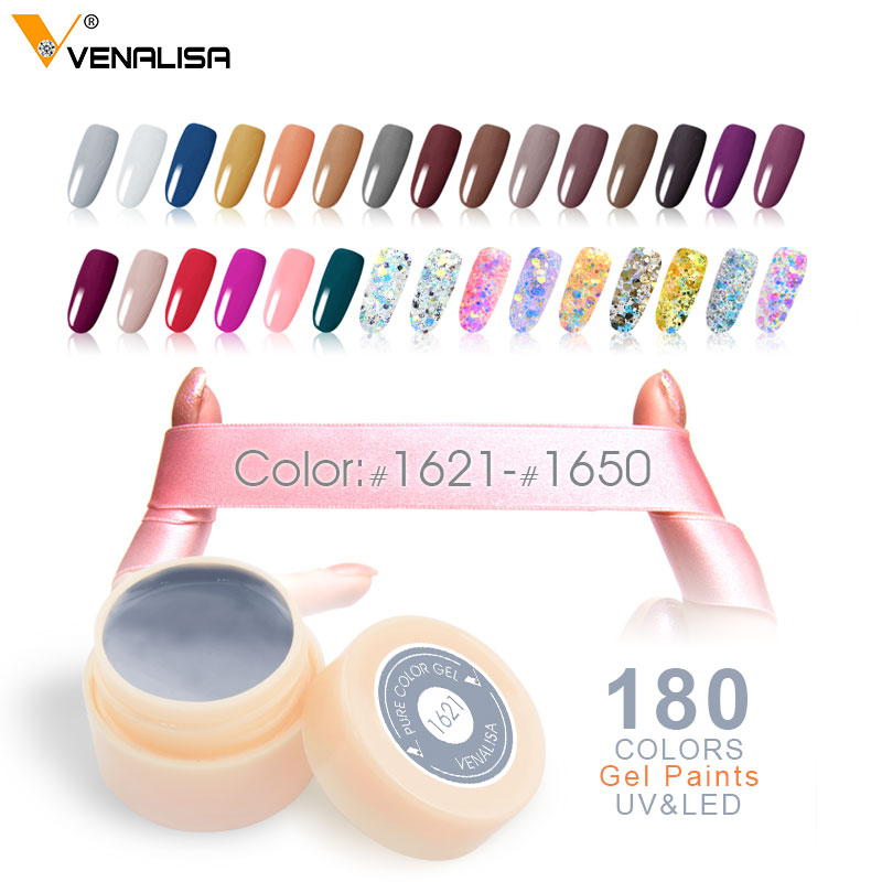 CANNI Factory Venalisa UV LED Paint Gel 5ML 180 Pure Color Varnish Soak off No Chipping off or Wrinkle UV LED Nail Painting Gel ...
