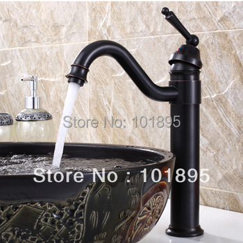 L15713 - Luxury  Deck Mounted Black Color Brass Washbasin Mixer