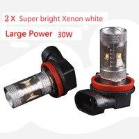 High Quality 2pcs High Power 30W 720LMS HID White H8 LED Light Bulbs DRL Fog Driving