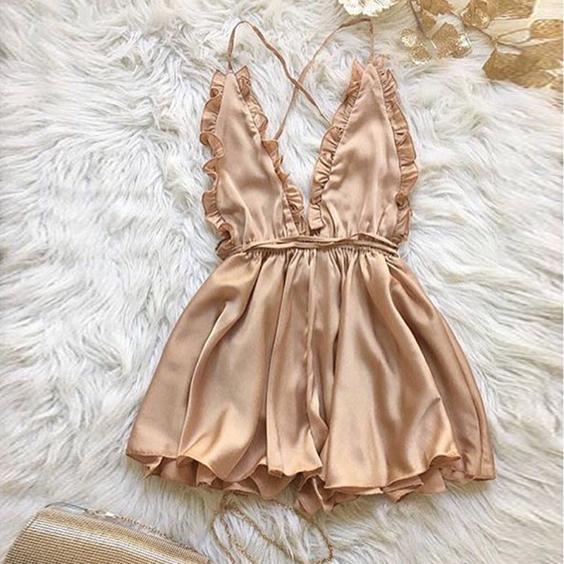 <font><b>2018</b></font> <font><b>Sexy</b></font> Frill Trim Mid Waist Camisole Top <font><b>jumpsuit</b></font> Blackless Cross sling femme Ruffles Loose Romper Women image
