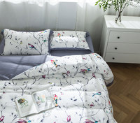 Fashion pastoral bedding set adult teen girl,full queen king trend plant bird home textile flat sheet pillow case duvet cover