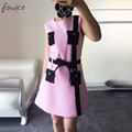 New Fashion Solid Pink Elegant Patch Sleeveless Clothes Sashes A-Line Mini Skirt Women Autumn Casual Set  Black Striped Dresses