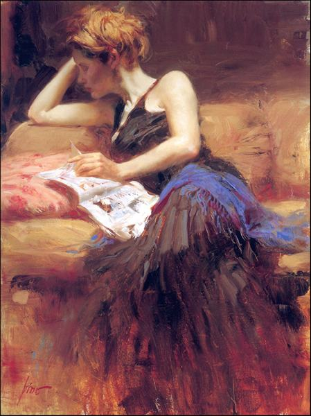 High Quality Beautiful Woman Figure Pino Oil Painting Wall Decor For Home Printed On Canvas