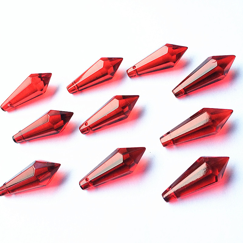 100pcs/lot 36mm Sparkle Red Crystal Glass Chandelier Pendants Crystal Lamp Parts Crystal Glass Icicle Drops For Decoration Harmonious Colors