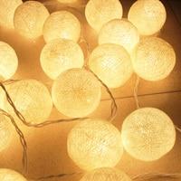 القطن 6 سنتيمتر الكرة مصباح led سلسلة أضواء 5 متر 20 المصابيح الجنية عيد الرئيسية حفل زفاف الديكور الباحة ضوء ac 220 فولت/110 فولت