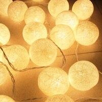6 سنتيمتر في القطن الكرة مصباح led سلسلة أضواء 5 متر 20 المصابيح الجنية عيد الرئيسية حفل زفاف الديكور الباحة ضوء ac 220 فولت/110 فولت