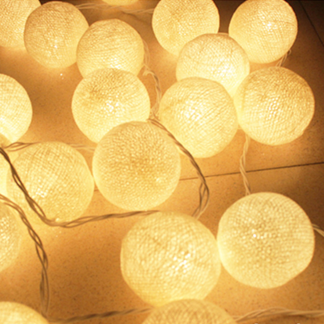 outdoor cotton 6cm ball led string lights 5m 20leds fairy christmas lamp home wedding party decoration patio light AC 220v/110v