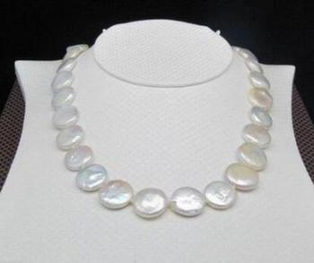 """free shipping >>>>HOT SELL Hot Huge AAA 14-15mm south sea white coin pearl necklace 17"""" 14K GOLD CLASP"""