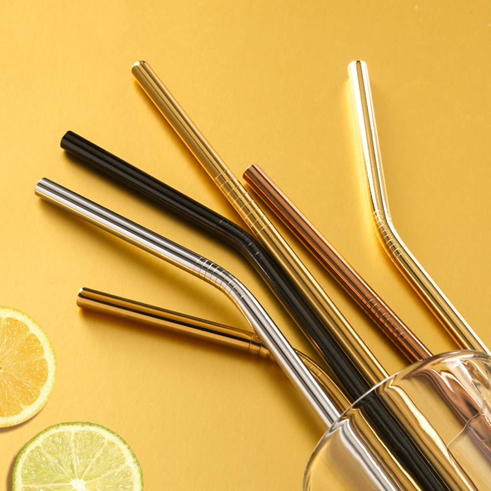 Drinking Straws Brush Mugs Cleaner Metal Reusable 304-Stainless-Steel With Bent For Sturdy