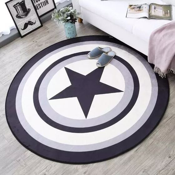 Gray Circular Carpet Living Room Table Mat Bedroom Rug Computer Cushion Child Pad Marvel Captain America Shield Blanket Mats