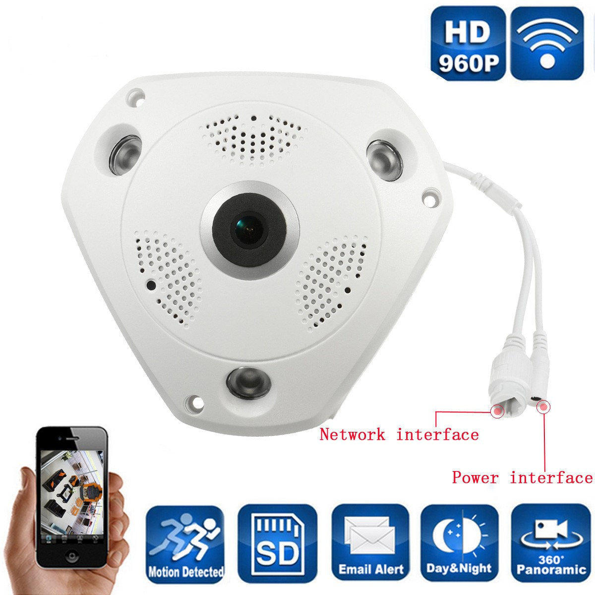Wireless Panoramic Fisheye Camera 960P HD Wireless Wifi Security Network 3D VR IP Camera Remote Control Surveillance Camera erasmart hd 960p p2p network wireless 360 panoramic fisheye digital zoom camera white