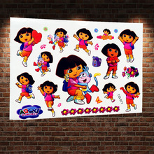 Dora The Explorer Episodes Temporary Tattoo Stickers ACG-071 Baby Kids Cartoon Waterproof Flash Tattoo Little Girl Body Tatoo