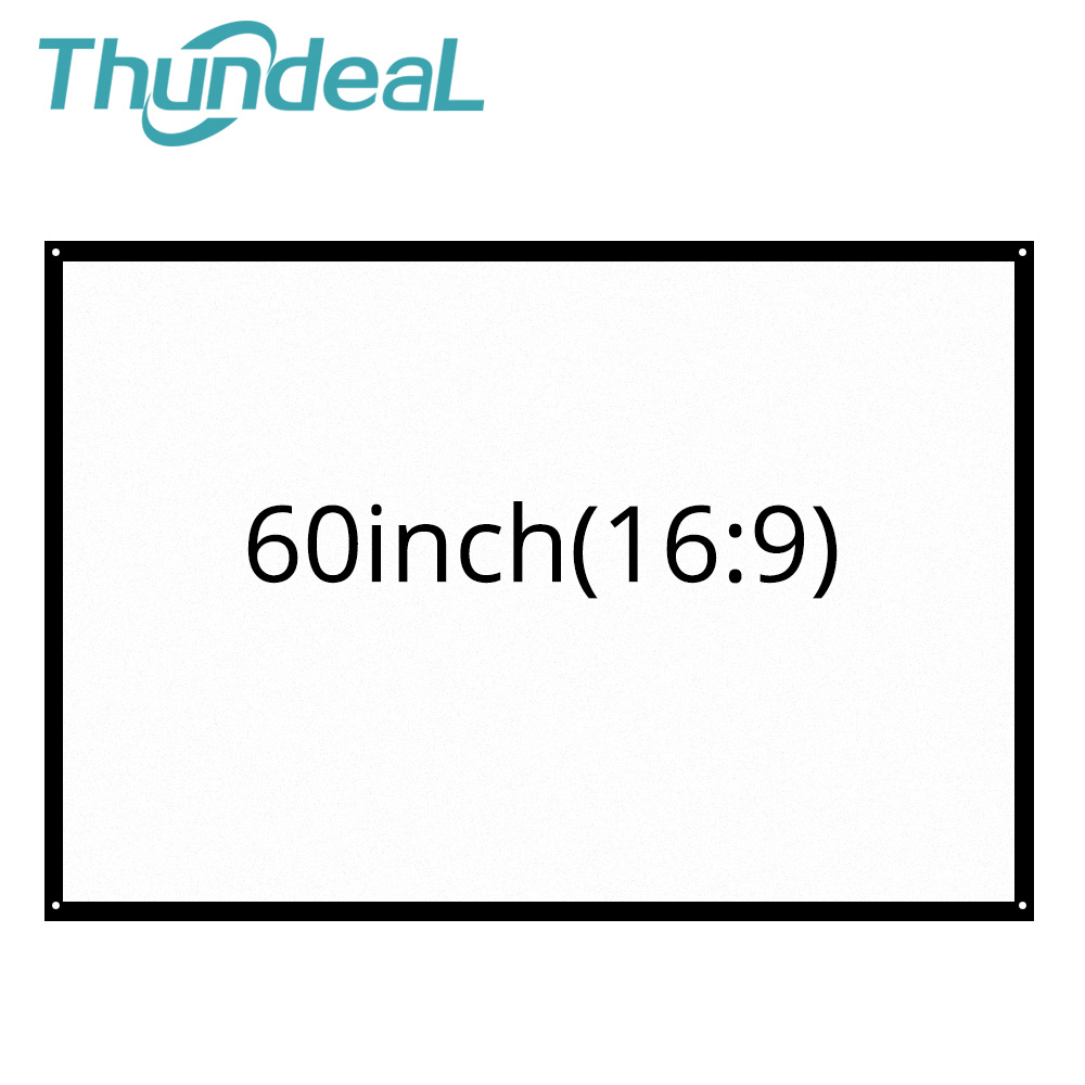Thundeal Screen Projector Travel Portable 60inch Theater Party Plastic for Home LED 16:9