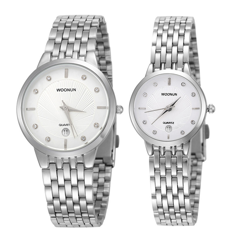 WOONUN Luxury Brand Stainless Steel Quartz Couple Watches For Lovers Fashion Men Women Ultra Thin Watches Water Resistant