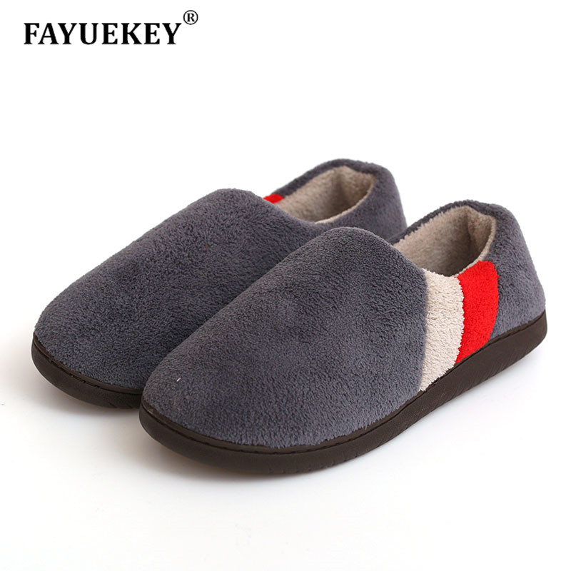 FAYUEKEY Big Size 2019 Autumn Winter Home Thermal Cotton-Padded Warm Slippers Men Women Indoor\Floor Sneaker Lovers Flat Shoes