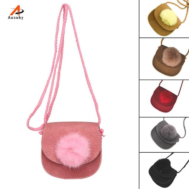 Crianças Venda quente Mini Shoulder Bag PU Couro Bolsa Fofo Bola Pompom Crianças Meninas Casual Crossbody Messenger Bags Bolsas