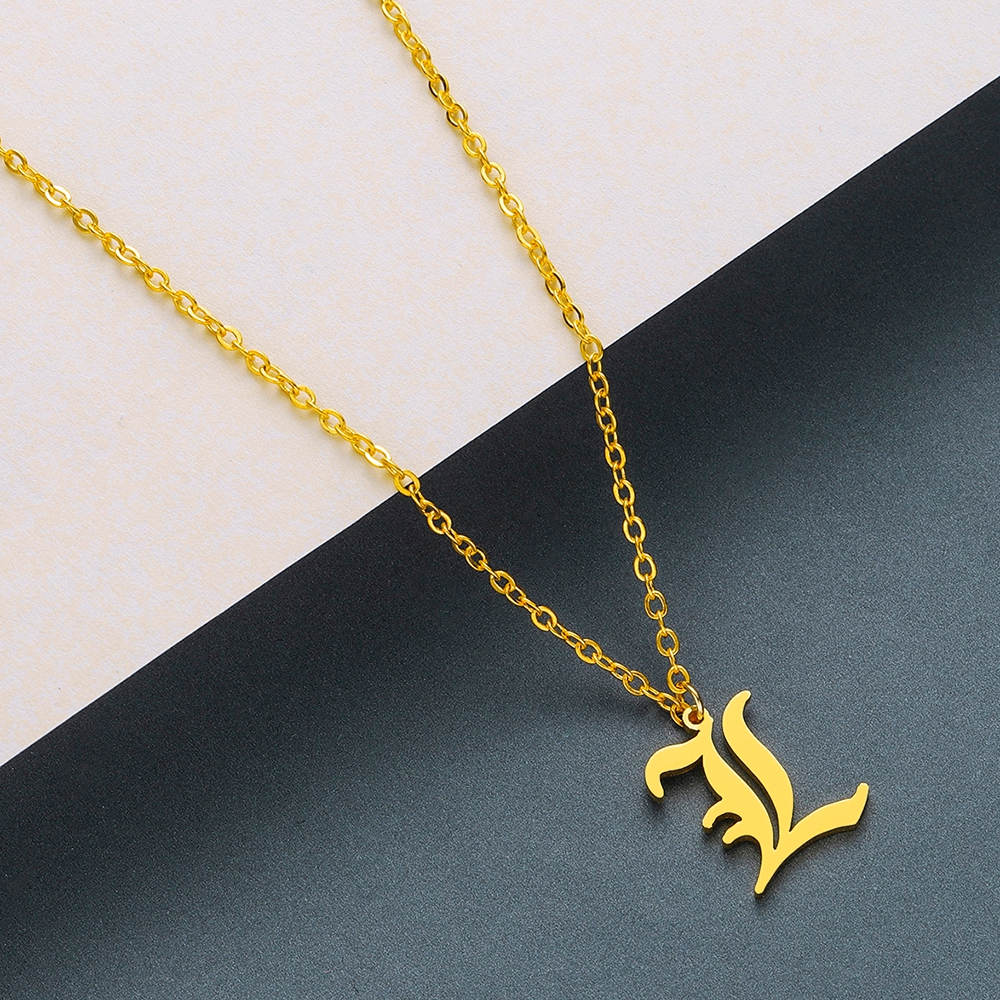 Todorova Old English Custom Capital Initial A-Z Letter Pendant Necklace Men Vintage Font Personalized Necklace Women Jewelry 34