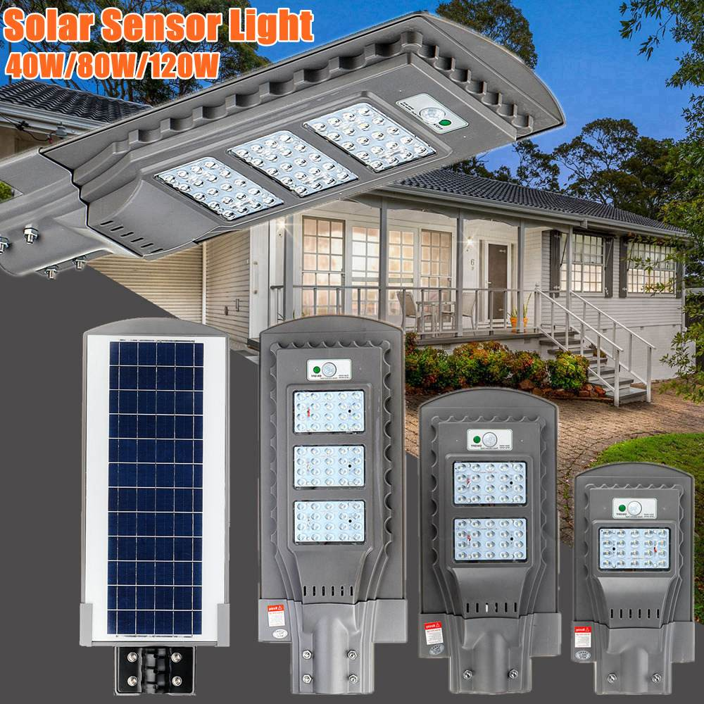 AUGIENB 21000LM 40W/80W/120W Solar Street Light 20/40/60 LED Outdoor Lighting Security Lamp Motion Sensor / IPX6