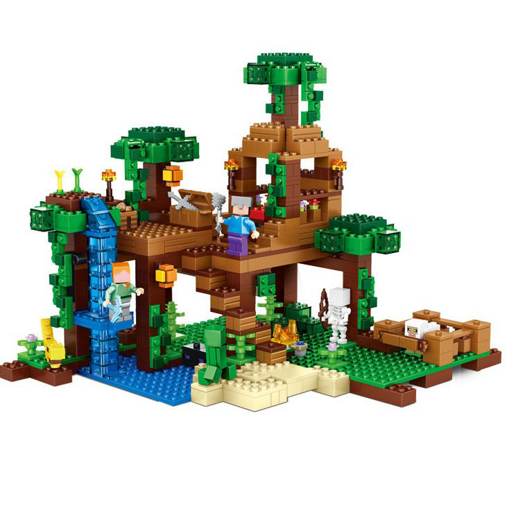 NEW Model building kits compatible with legeo my worlds Minecraft The Jungle Tree House model building