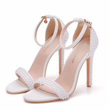 New Pearl White Sweet Fashion Women's Wedding Sandals Thin High Heel Lady Shoes Women Bridal Dress Shoes XY-B0293 wedding shoes white diamond crystal pearl high heel waterproof table adult shoes wedding shoes bridal shoes