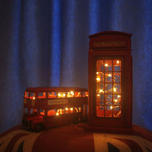 Retro London Telephone Booth Double Decker Bus Figurine Model LED Light Iron Crafts Photography Props Desk Decoration