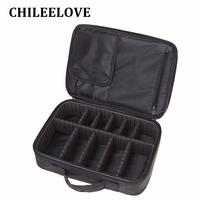 CHILEELOVE Professional Black Interlayer Multifunctional Portable Makeup Brushes Kit Storage Collection Bag Cosmetic Tool