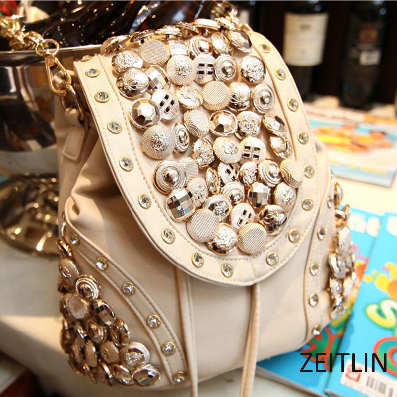 Female Bags Summer New Korean Fashion Button Bag Bucket Bag Diamond Shoulder Shoulder Diagonal Diagonal Packet  S056