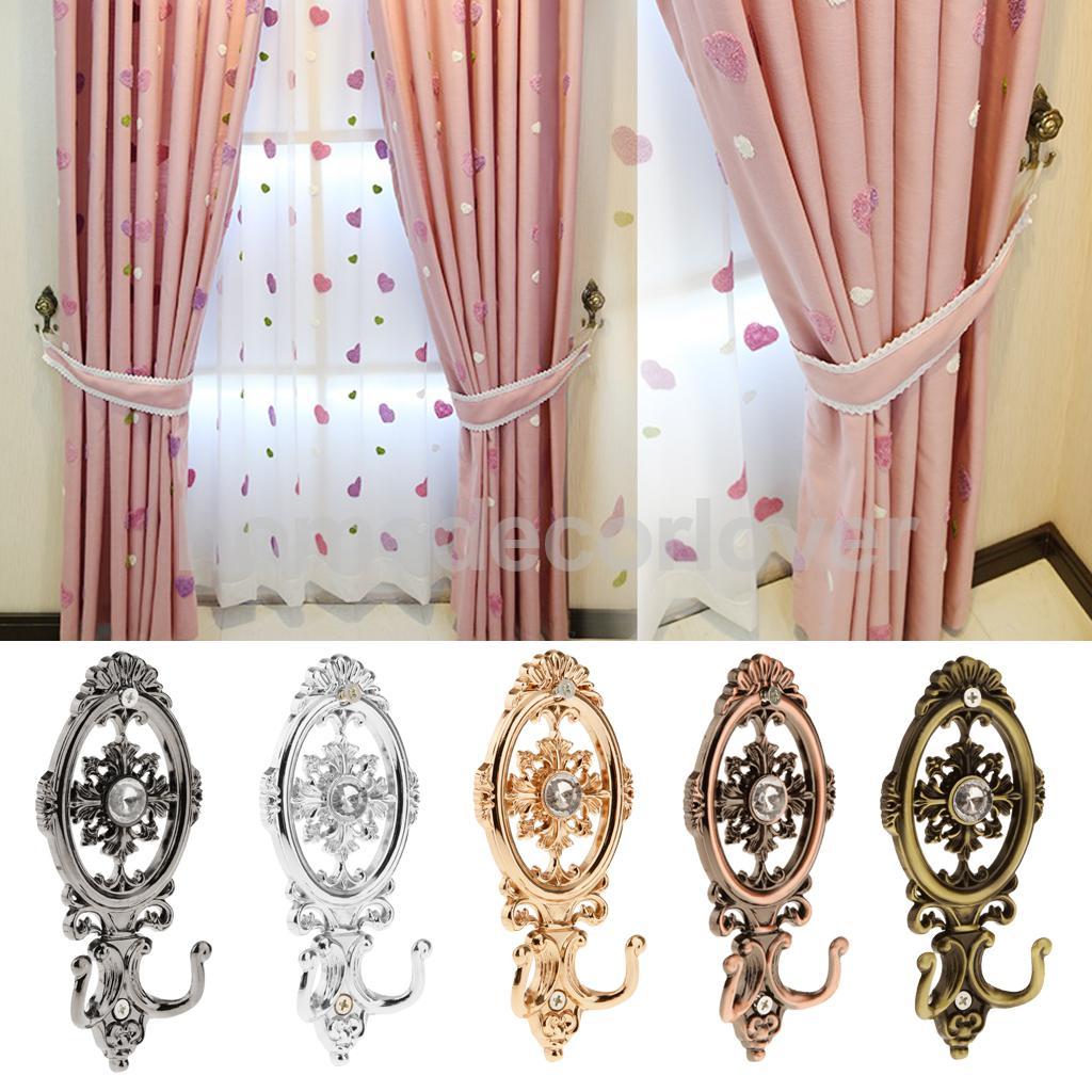 2 pcs vintage oval curtain hanger tieback wall mounted hook holder