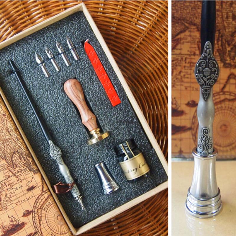 High Quality Antique Gift Dip Pen Set with 4 Nibs 1 ink Stamp Seal Wax Pen Holder Wedding Handwriting Pen vintage cock rooster wedding invitation luxury wax seal sealing stamp brass peacock metal handle gift set custom picture logo