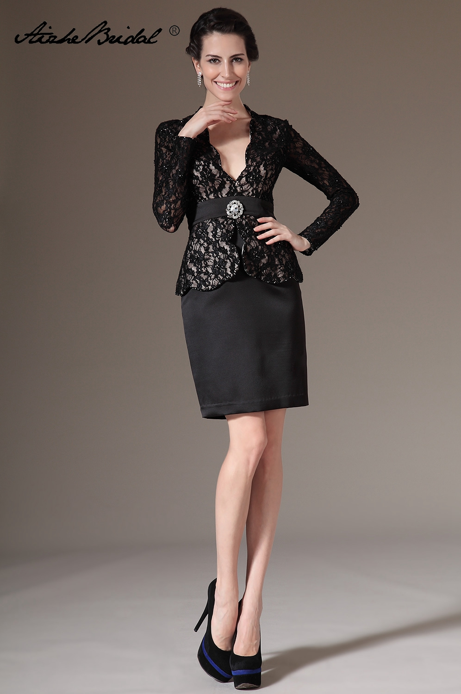 Women's Elegant V Neck Long Sleeve Black Lace Embroidered Cocktail Party Mother Vintage Sheath Formal Dress