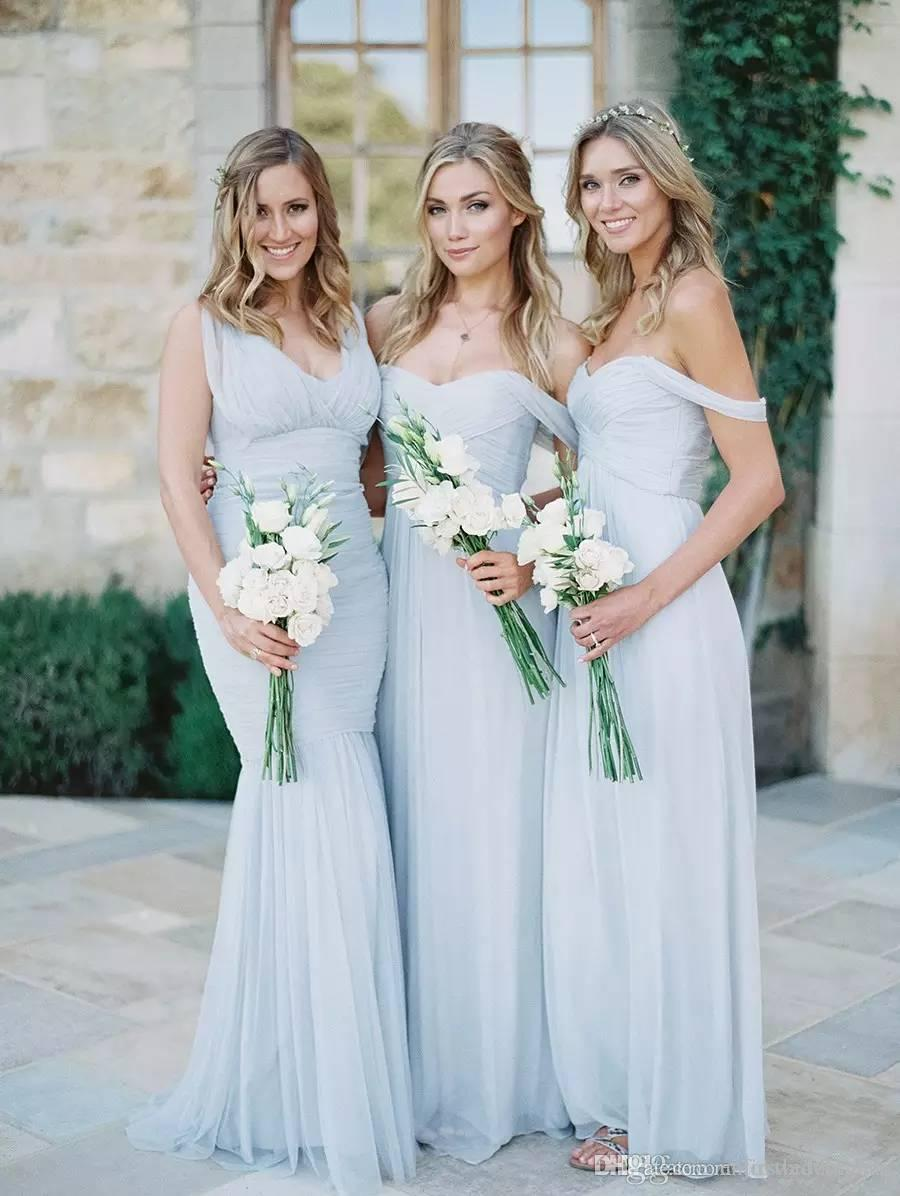 Popular cheap beach bridesmaids dresses buy cheap cheap beach cheap bridesmaid dresses 2017 light sky blue chiffon a line ruched mixed neckline summer beach wedding ombrellifo Choice Image
