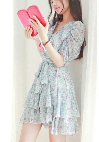 Puff sleeve small fresh young girl one-piece dress sweet summer skirt vintage chiffon one-piece dress