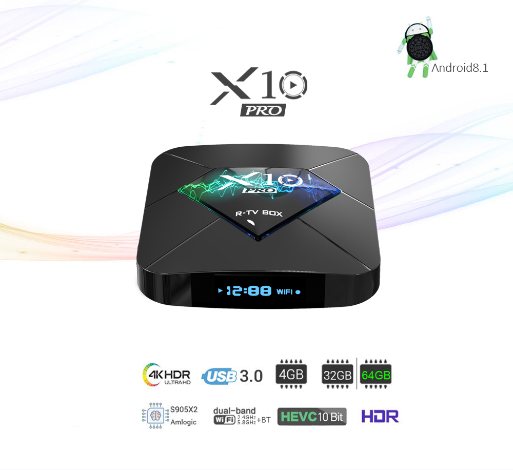 X10 TV Box S905X2 Android 8.1 DDR4 4GB 64GB 4K HD Smart Set Top Box with IPTV Subscription 1 Year 5000CH 10000VOD M3U EuropeX10 TV Box S905X2 Android 8.1 DDR4 4GB 64GB 4K HD Smart Set Top Box with IPTV Subscription 1 Year 5000CH 10000VOD M3U Europe