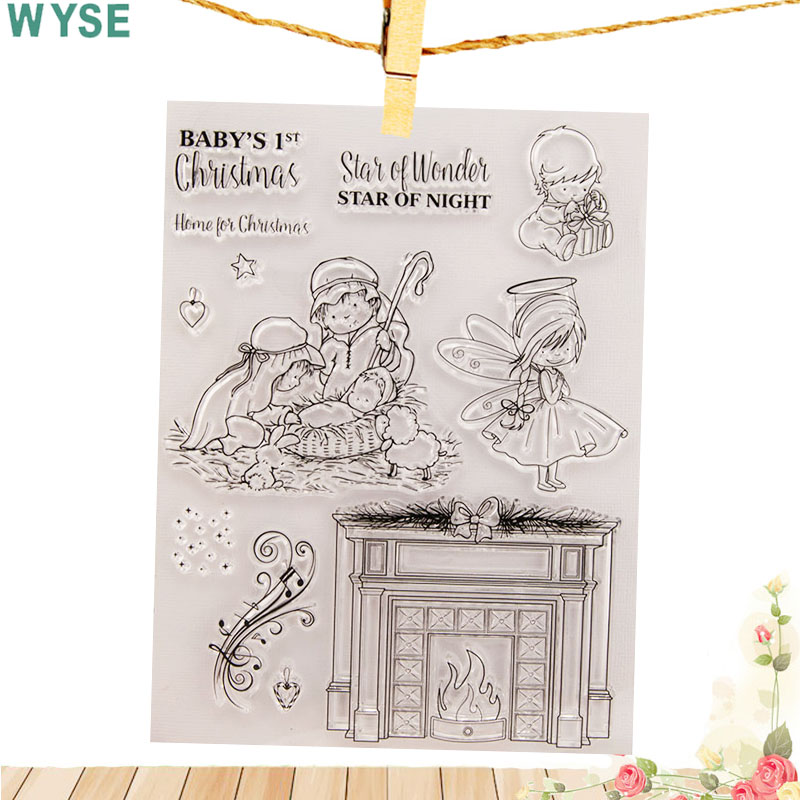 Us 2 47 20 Off Baby Christmas Clear Stamps Angel Kids Rubber Silicone Stamps Fireplace For Scrapbooking Decoration Invitation Card Making In Stamps