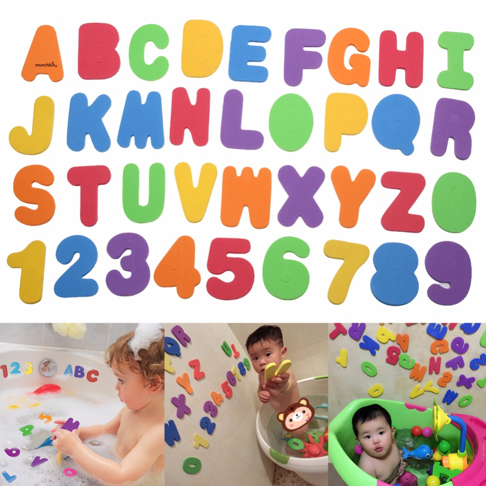 36pcs/ lot Kids Educational Toys Floating Bath Letters & Numbers Stick on Bathroom Toy Candy color High Quality Baby Bath Toy