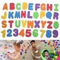 36 unids/lote Niños Juguetes Educativos Juguetes de Baño Flotante Letters & Numbers palo de Juguete de Baño de color Caramelo