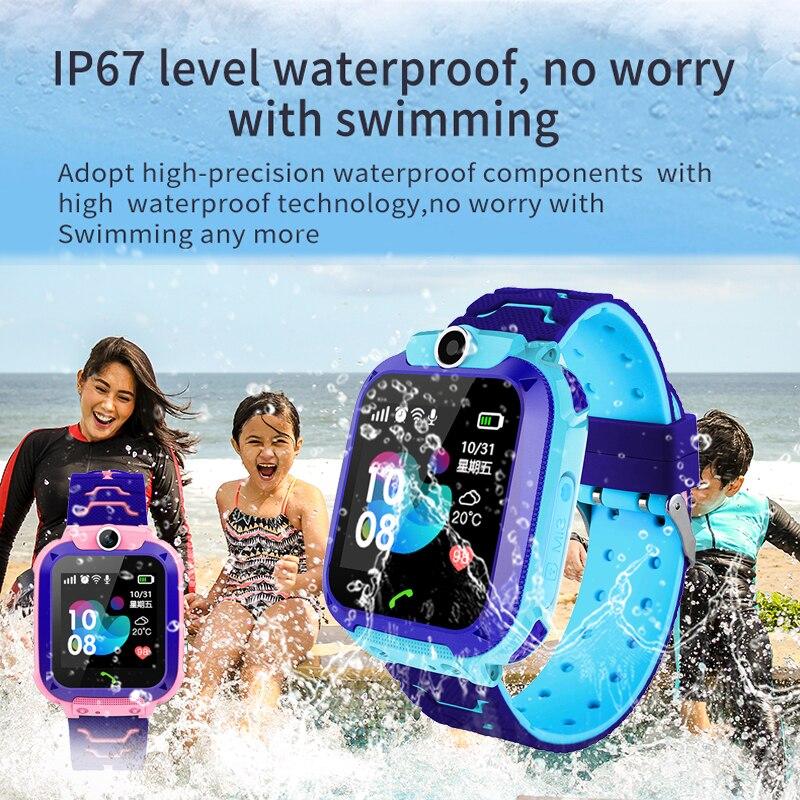 LIGE Crianças Bebê Telefone Do Relógio Inteligente Chamada SOS LBS Posicionamento De Segurança Garoto SmartWatches SIM Card Apoio Reloj inteligente + Caixa