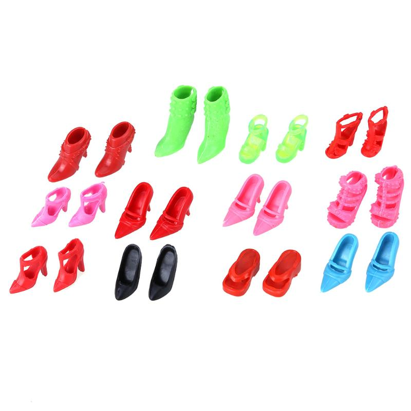 12 Pairs Fashion Doll Shoes Colorful Assorted High Heels Shoes Sandals for Barbie Doll Accessories Different Styles Mini Shoes 500pairs lot wholesale high quality high heel shoes for 30cm dolls mixed styles sandals slippers 10pairs pack doll shoes pack
