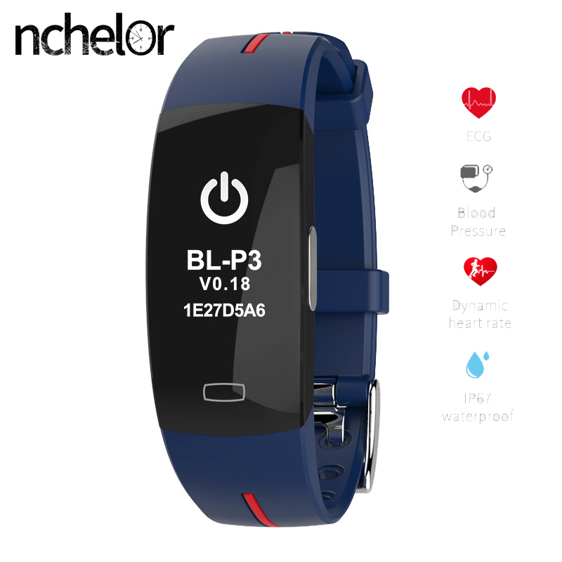 Sport Smart Bracelet Support ECG+PPG Blood Pressure Heart Rate Monitor Smart Band Fitness waterpoof Activity Tracker Watch fentorn p3 smart band support ecg ppg blood pressure heart rate monitoring ip67 waterpoof pedometer sports fitness bracelet
