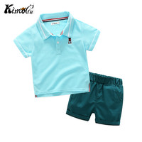 Kimocat High Quality Children Clothing Summer Cotton Lapel Sport Boy Polo Shirt Suit 3 Color 3